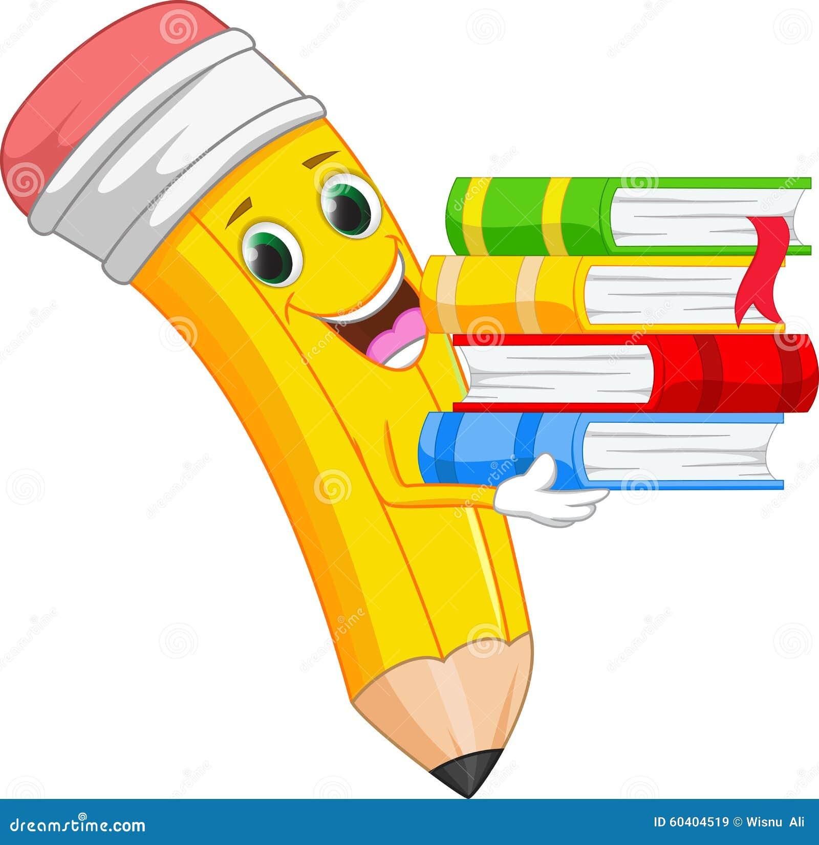happy cartoon pencil bring a book stock vector pencil clipart write pencil clipart black and white