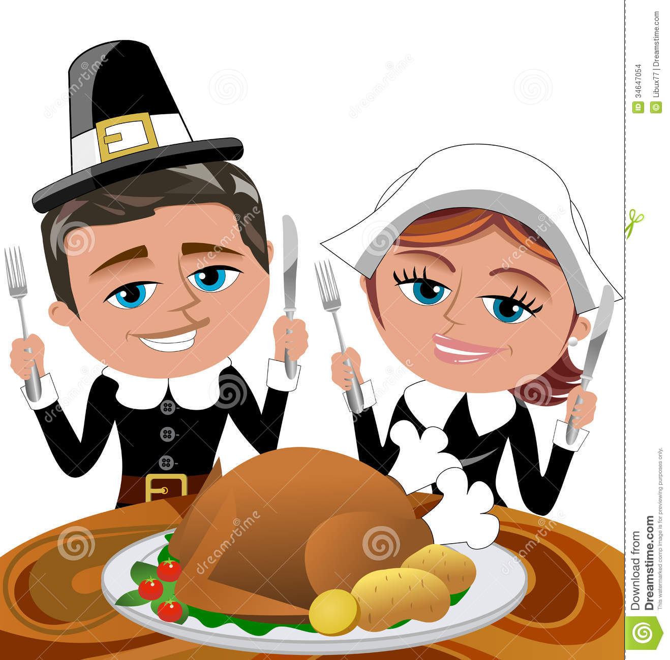 Happy cartoon pilgrims eating roast turkey stock vector for What do people eat on thanksgiving
