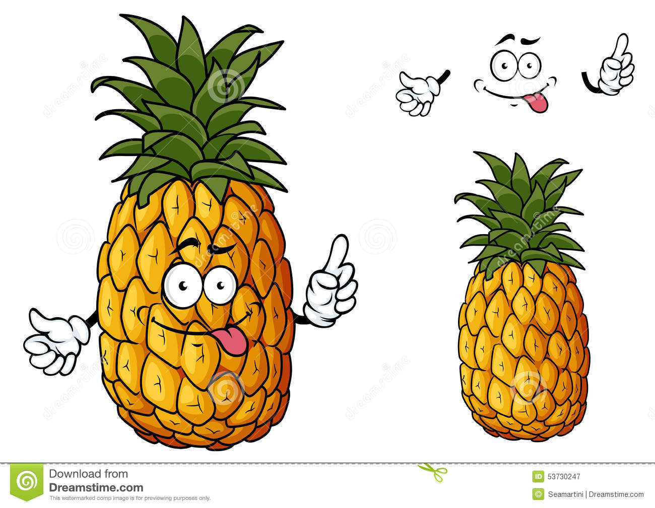 Happy cartoon pineapple fruit character sticking out its tongue waving ...