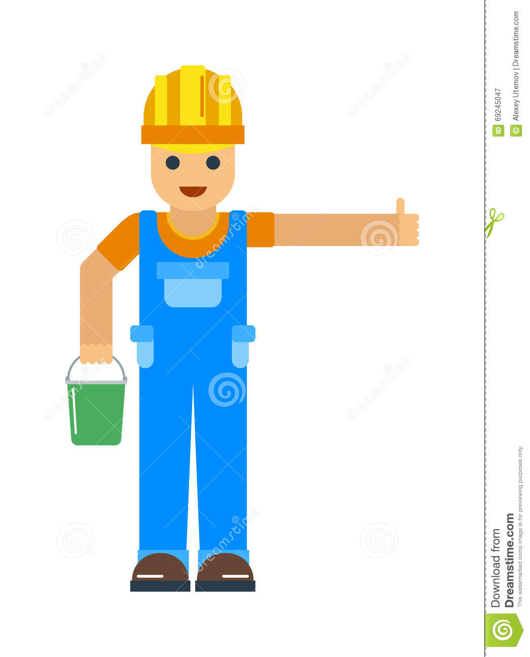 Happy Cartoon Repairman Or Construction Worker With Safety