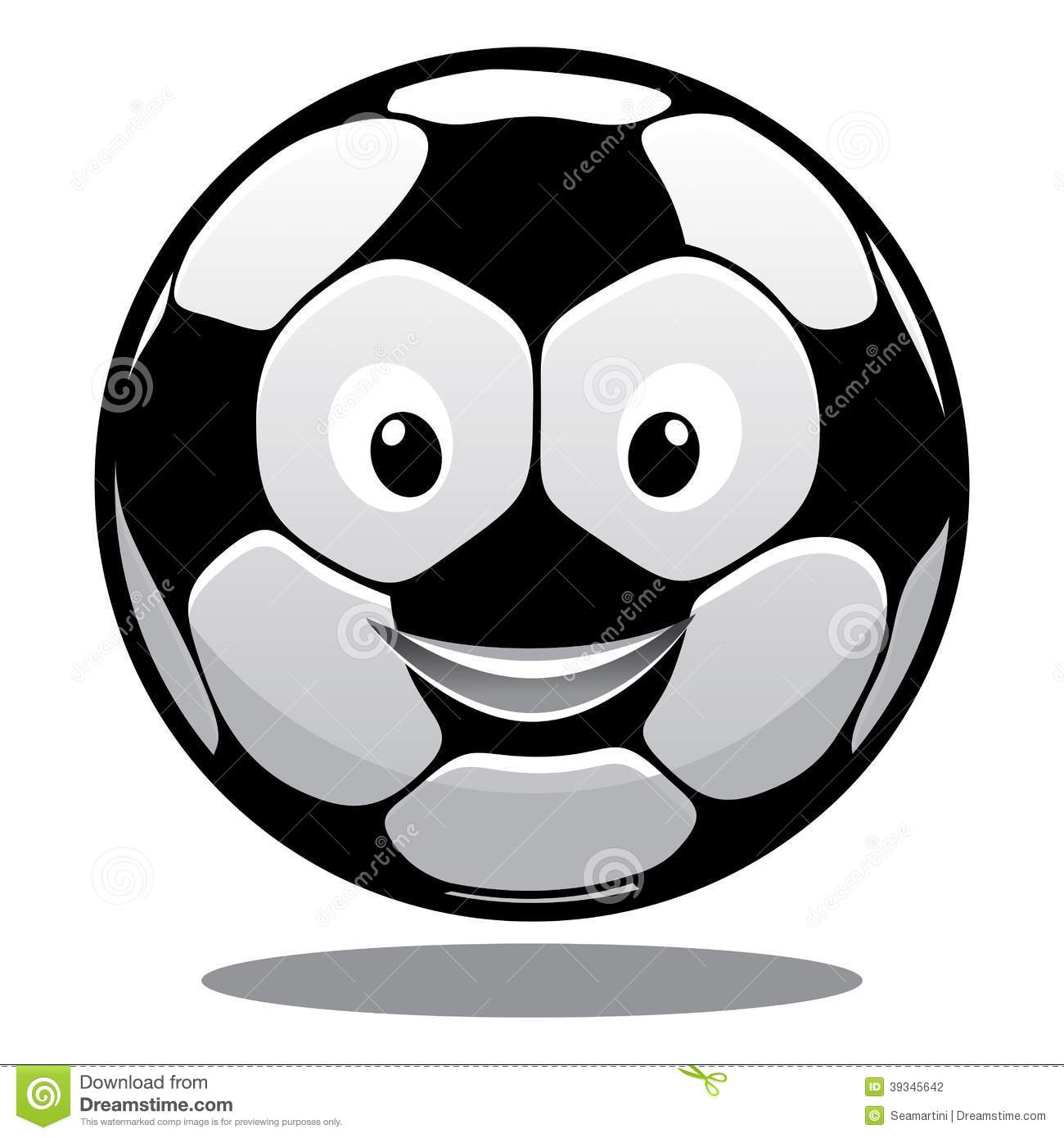 Happy smiling soccer ball with a hexagonal black and white pattern and ...