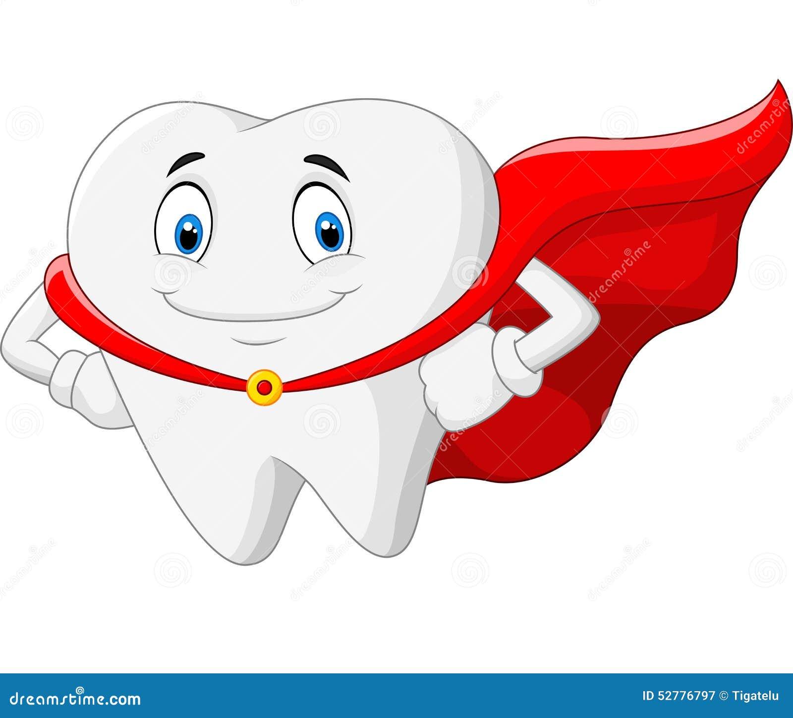 Happy Cartoon Superhero Healthy Tooth Stock Vector - Image: 52776797