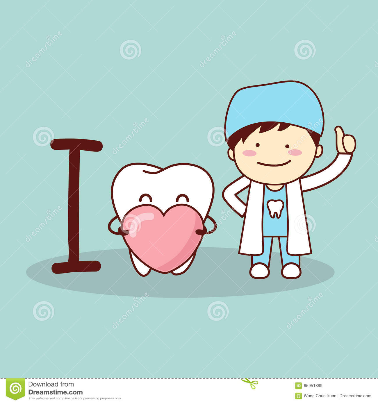 Happy Cartoon Tooth And Dentist Vector Illustration ...