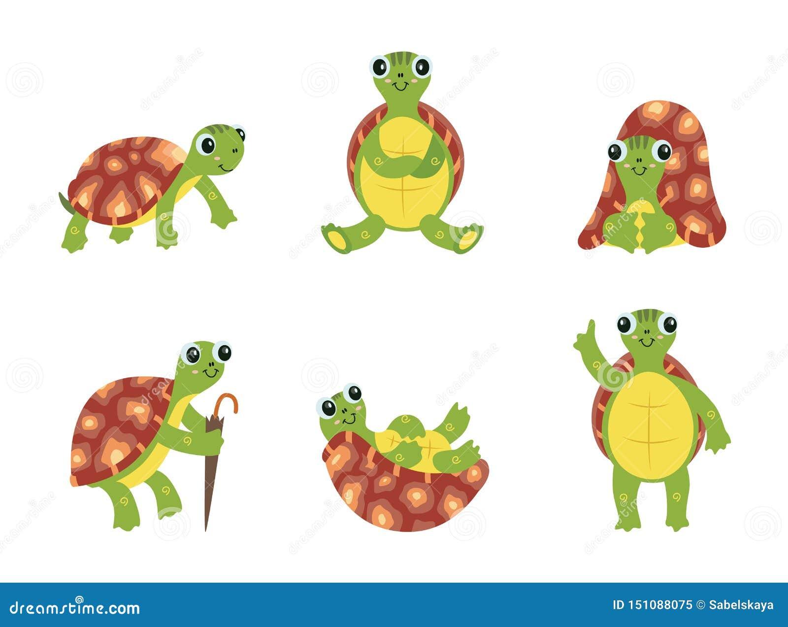 Happy Cartoon Turtle Set Cute Green Sea Animal With Brown Shell
