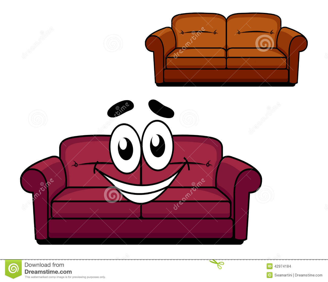 Happy Cartoon Upholstered Couch Stock Vector