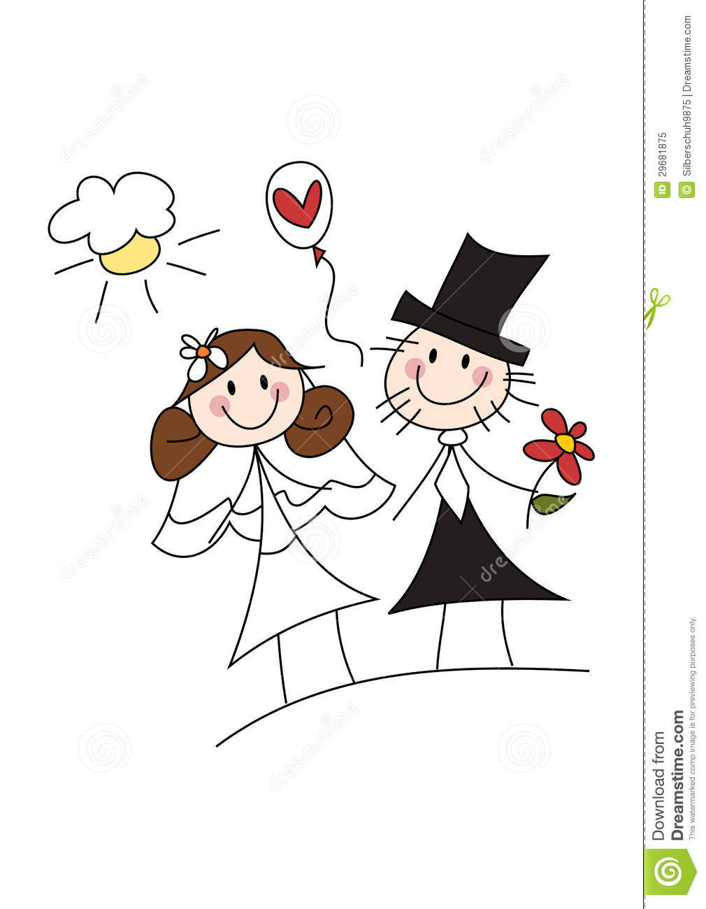 happy cartoon wedding couple royalty free stock photo image
