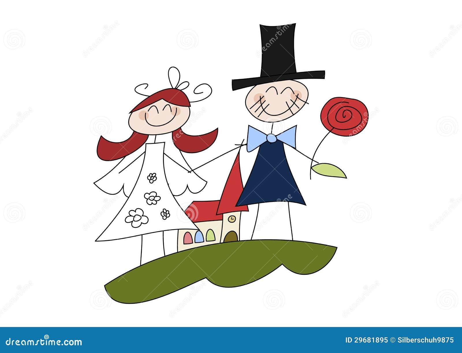 Happy Cartoon Wedding Couple Stock Illustration - Image ...