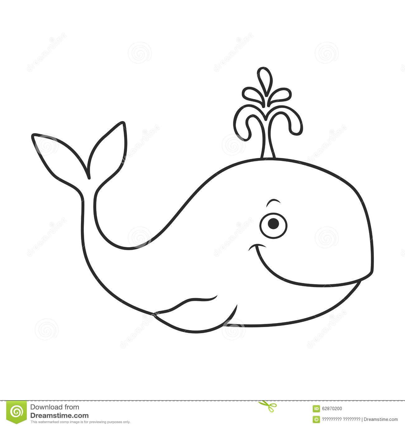 Happy Cartoon Whale Stock Illustration. Illustration Of