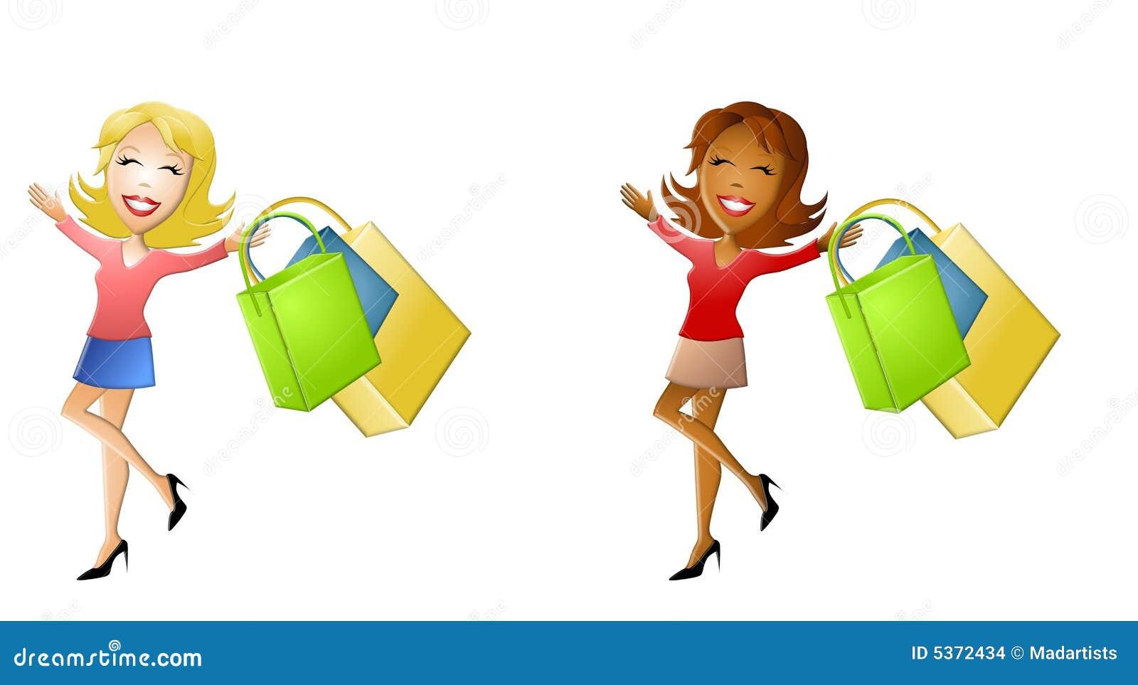 happy cartoon women shopping stock illustration Ladies Shopping Clip Art free clipart of woman shopping