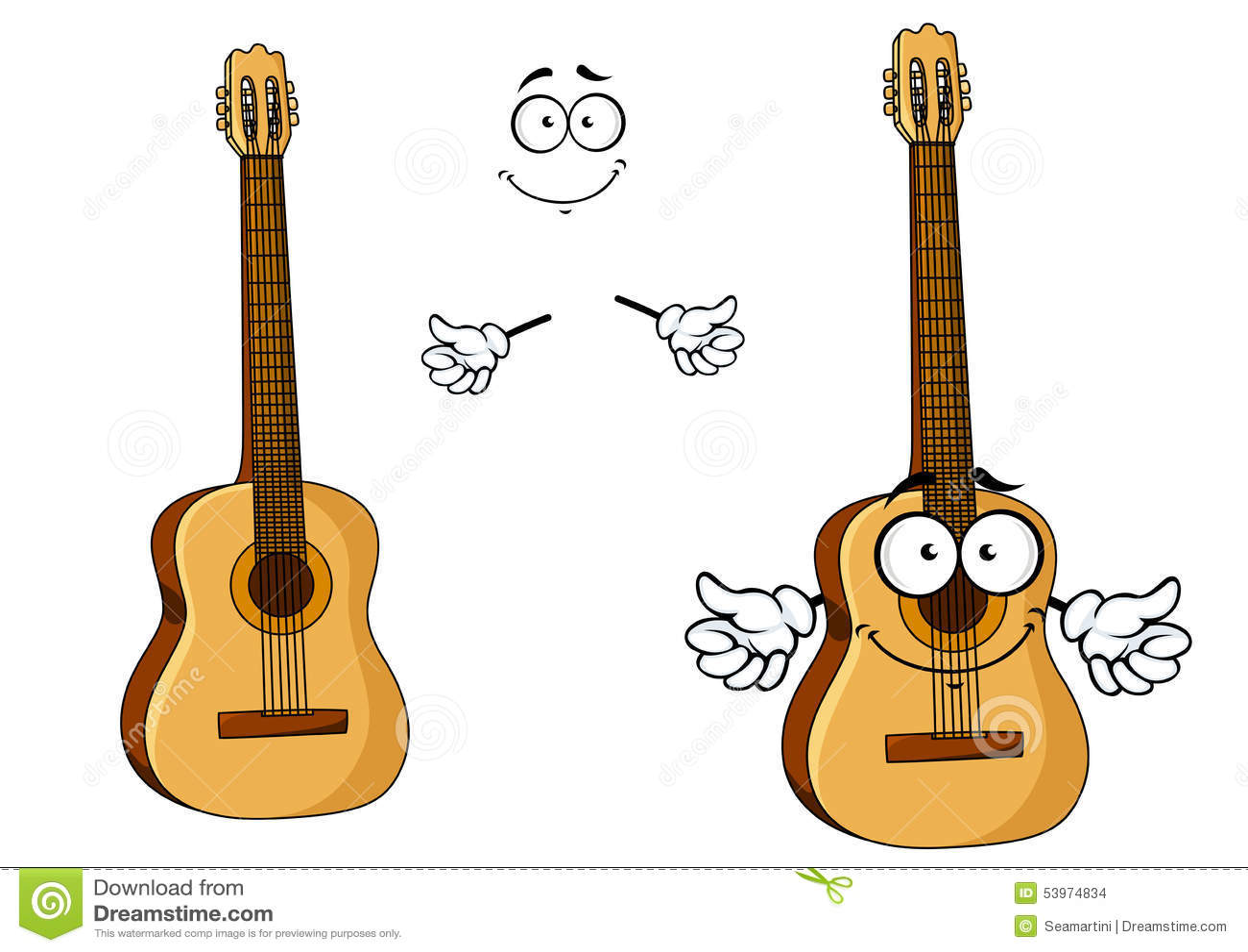 happy cartoon wooden acoustic guitar stock vector illustration of