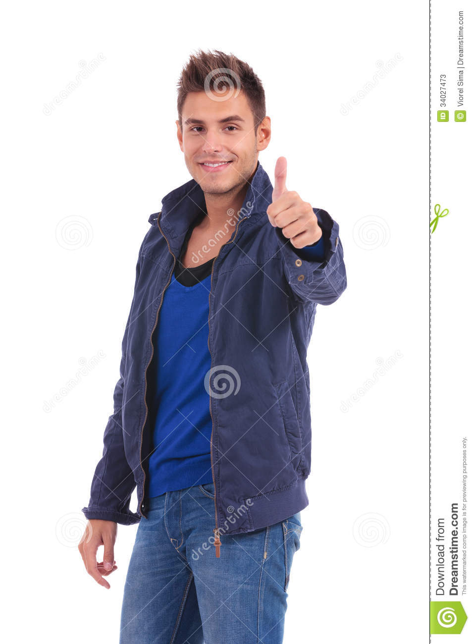 Happy casual man in jacket making the ok sign