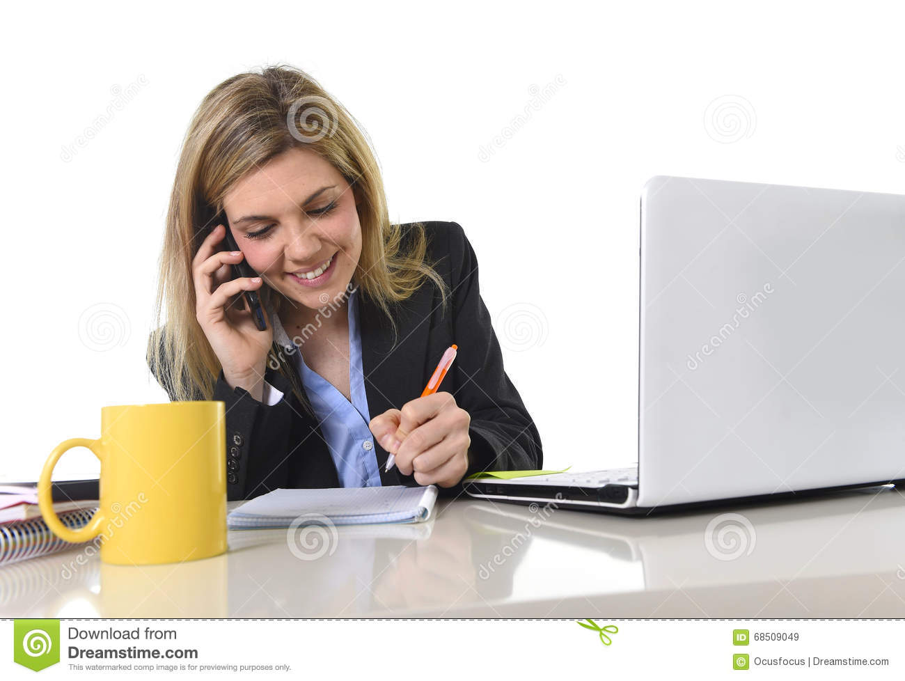 Happy Caucasian blond business woman working talking on mobile phone
