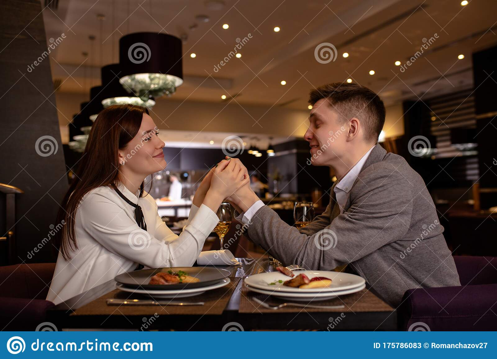 Happy Couple Have Dinner Dating In Restaurant Stock Image Image Of Affection Date 175786083