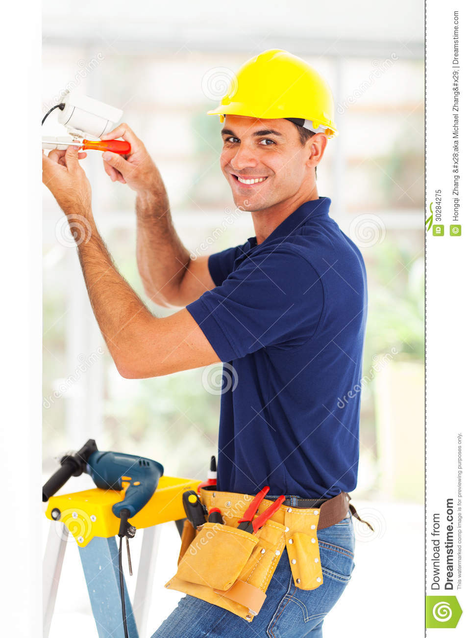 Cctv Camera Technician Stock Image Image Of Lens Adult