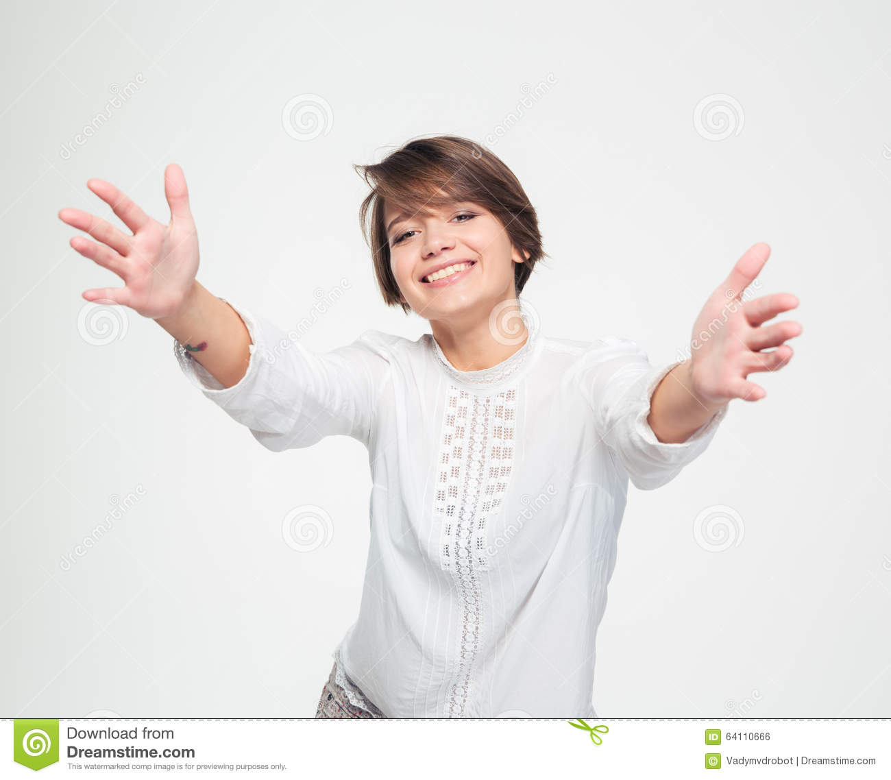 Happy Charming Woman With Opened Hands Reaching Towards ...