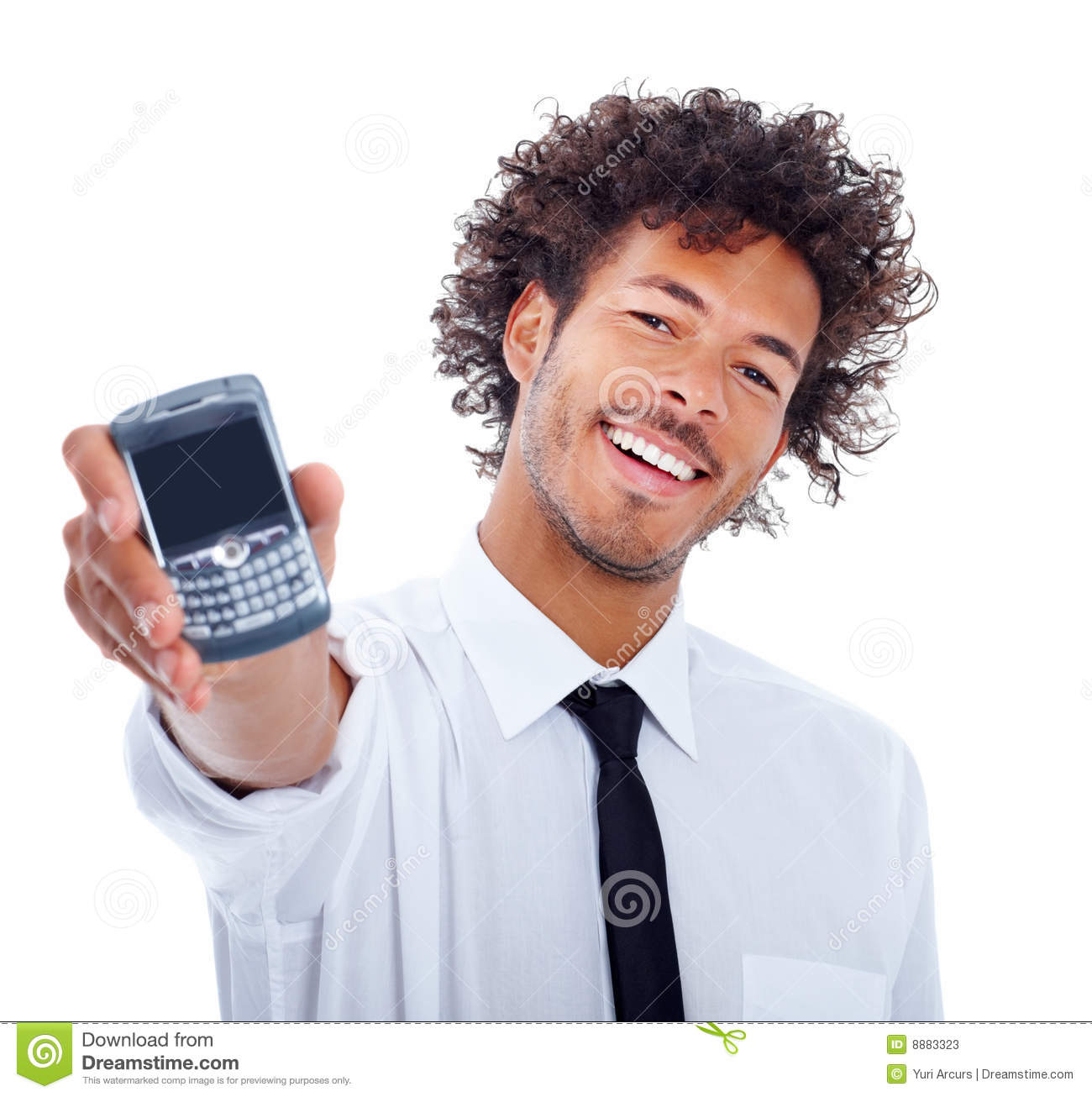 Man On Cell Phone : Stock photos happy and cheerful business man holding