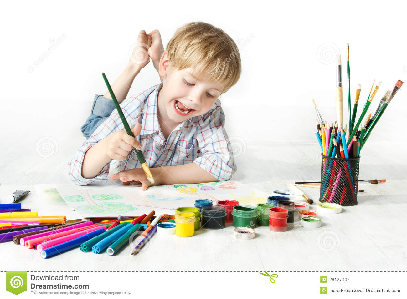 Uncategorized Child Drawing child drawing stock images download 50111 photos happy cheerful with brush in album photography