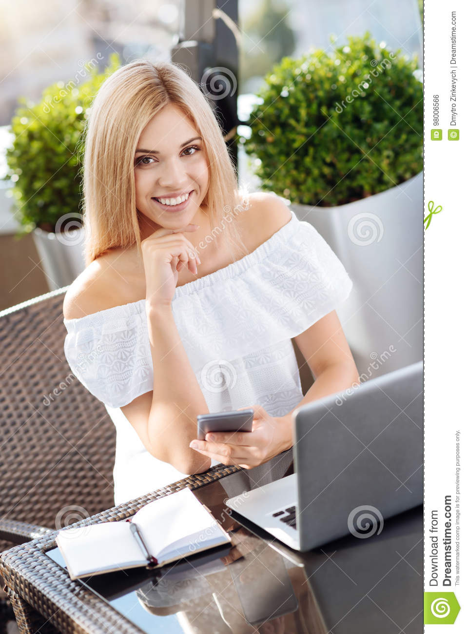 Happy Cheerful Woman Working At The Cafe Stock Photo ...