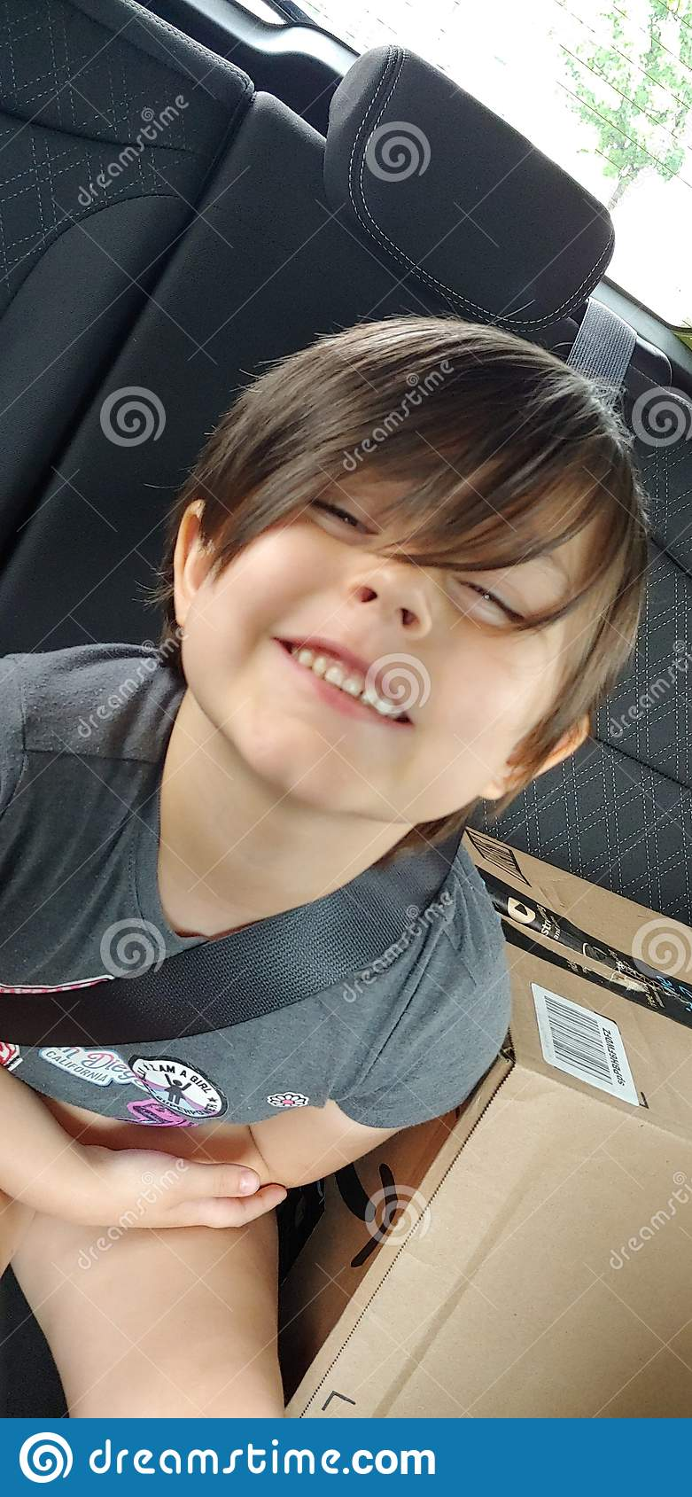 Happy Child in the Car
