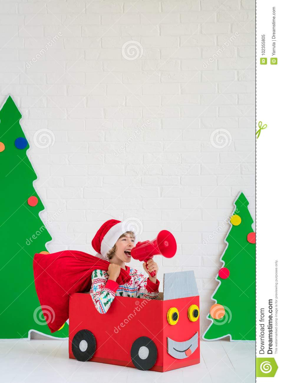 Happy Child On Christmas Eve Stock Image - Image of play, moving ...
