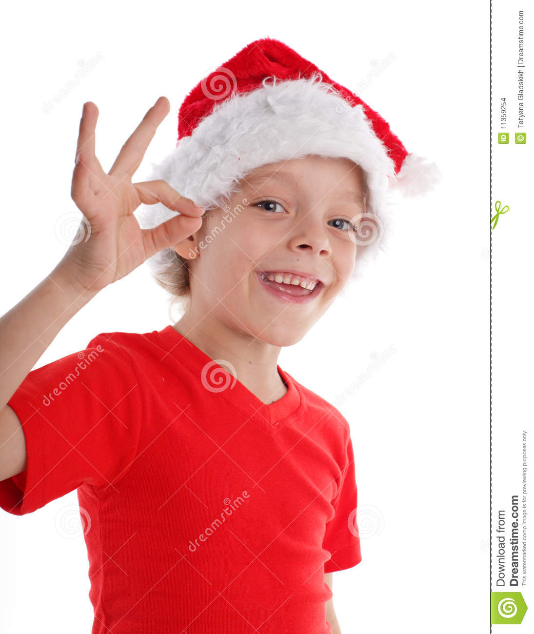 Happy Child In Christmas Hat Stock Images - Image: 11359254