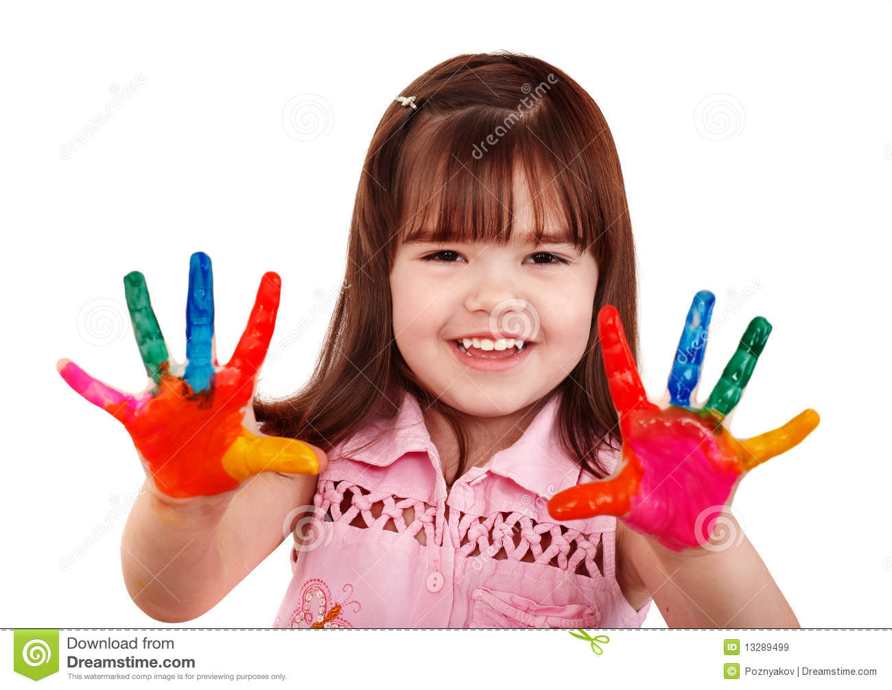 Happy Child With Colorful Painted Hands Royalty Free