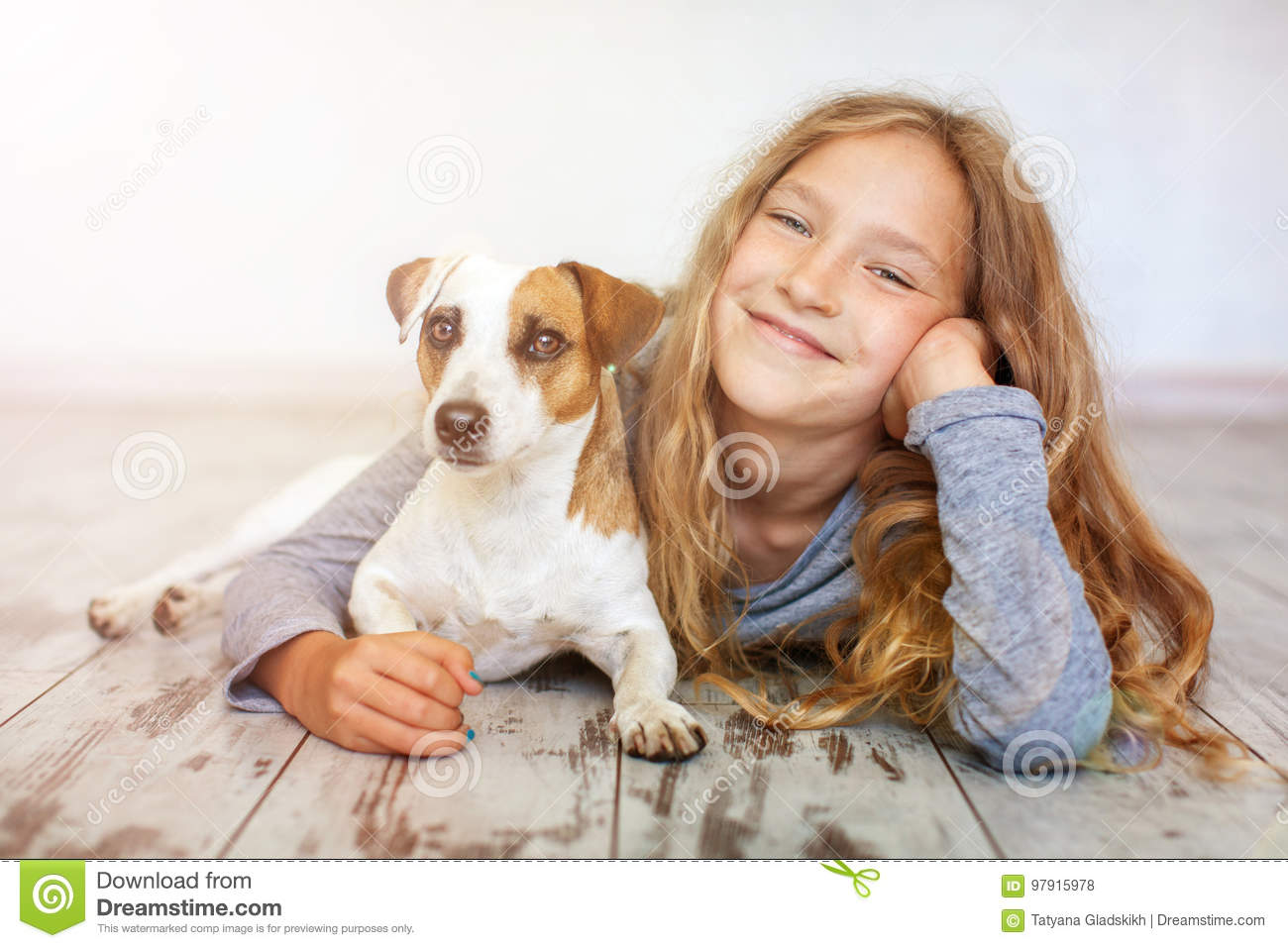 Happy child with dog