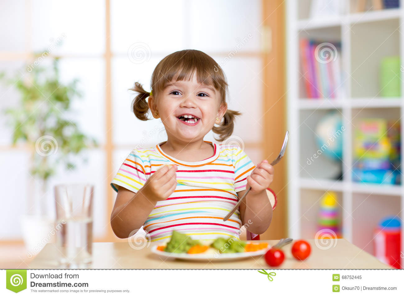 Happy Child Girl Eating Vegetables Healthy Nutrition For