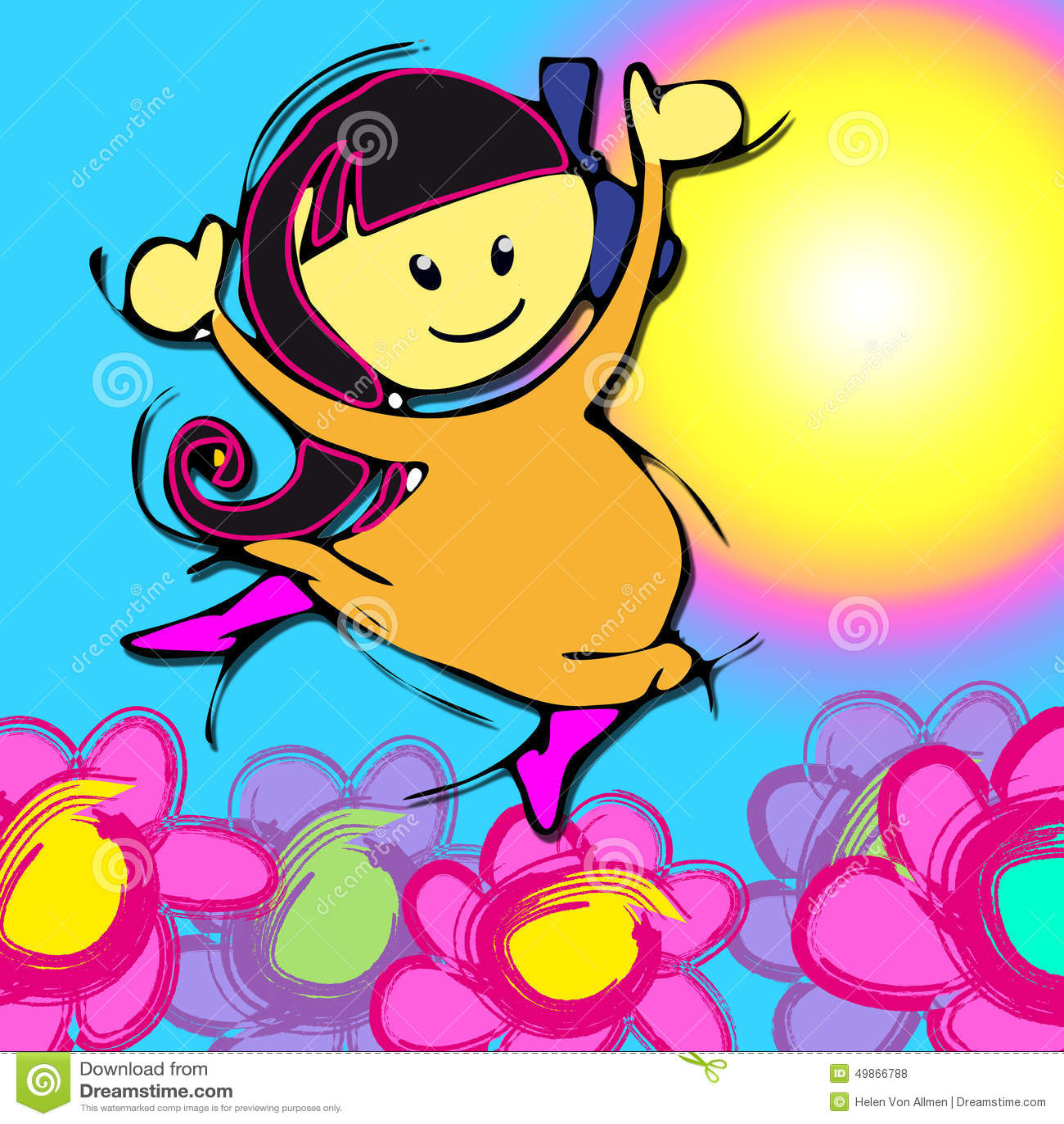 Pink flowers cartoon for baby girl children asian diversity stock download comp mightylinksfo