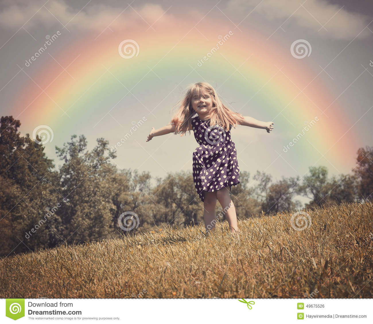 Nature Images 2mb: Happy Child In Nature Field With Rainbow Stock Photo