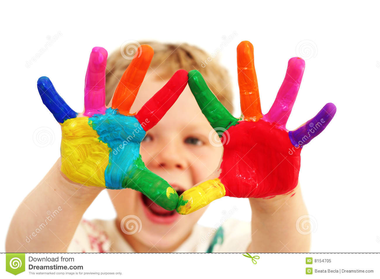 child with painted hands stock photo