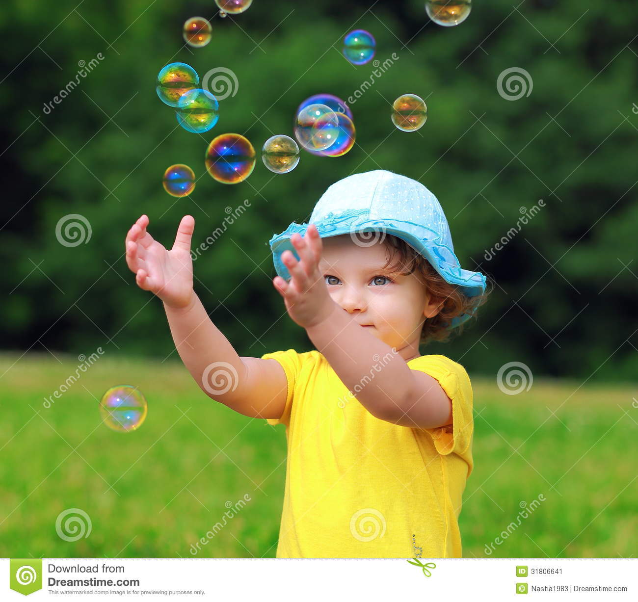 Happy Child Playing With Bubbles Stock Image Image 31806641