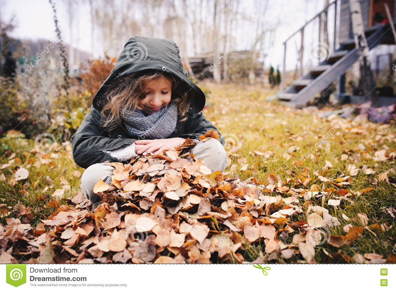 Download Happy Child Playing With Leaves In Autumn. Seasonal Outdoor Activities With Kids Stock Photo - Image of activities, play: 71686116