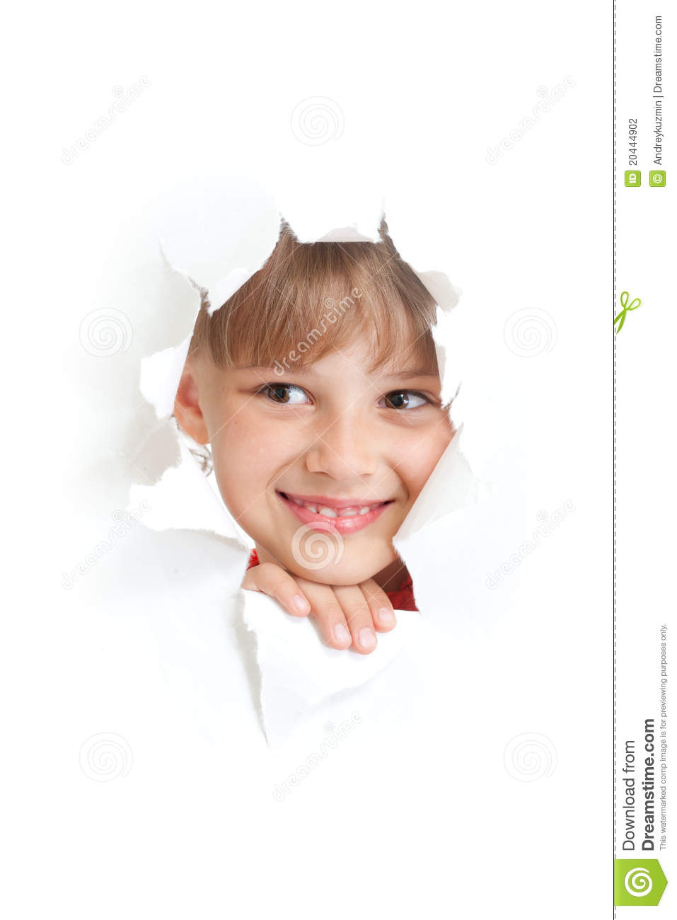 Happy Child Smiling In Torn Paper Hole Isolated Stock ...