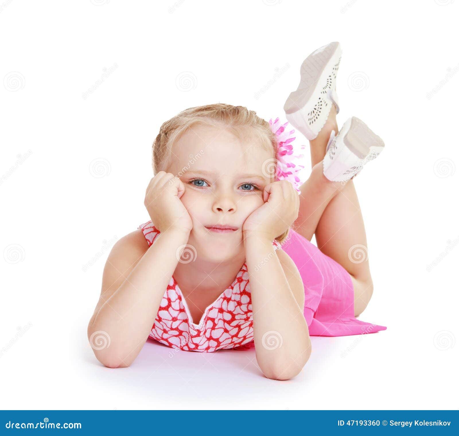 Stock Photo Happy Childhood Little Girl Lying Floor His Legs Crossed Isolated White Background Image47193360 on Playground Floor Plan Design