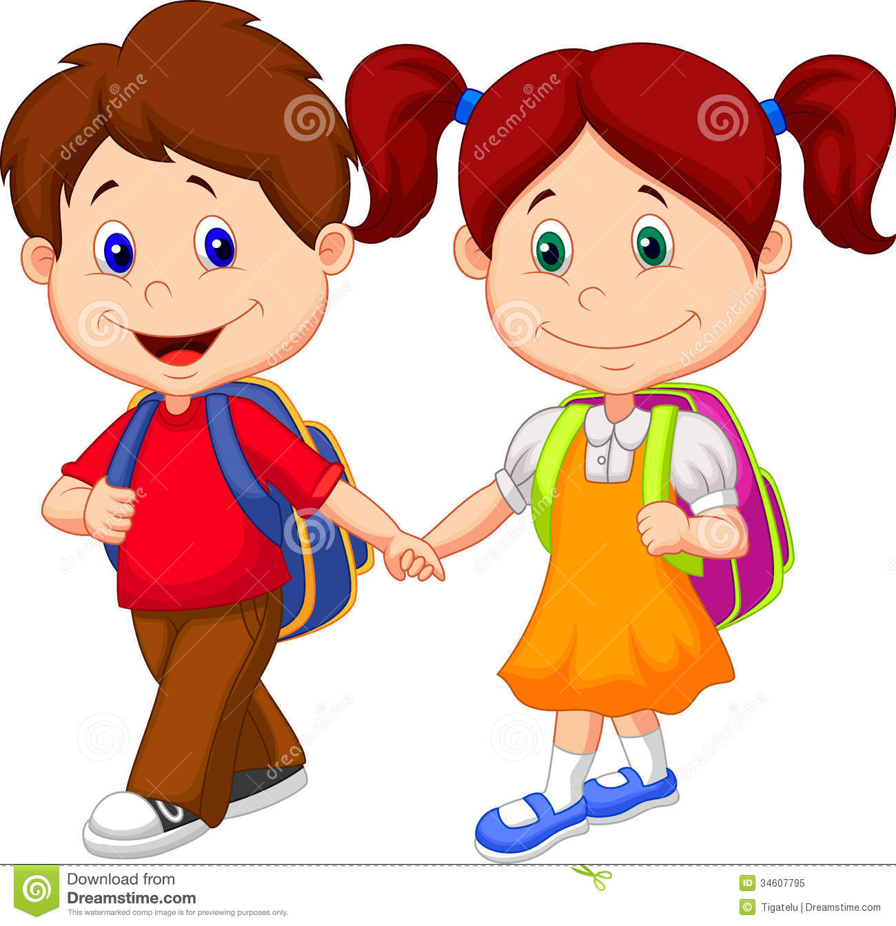 happy children cartoon come with backpacks - Cartoon Image Of Children