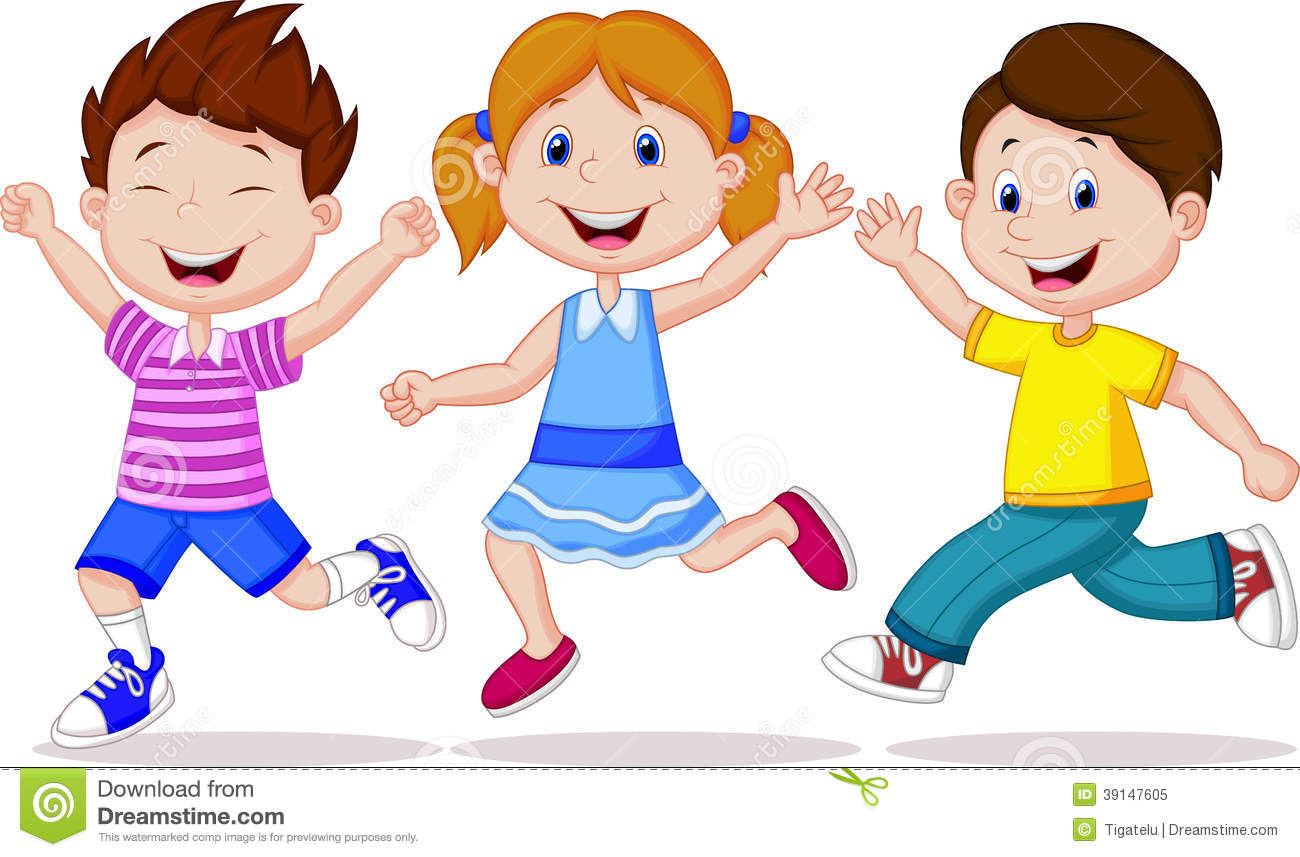 happy children cartoon running - Cartoon Image Of Children