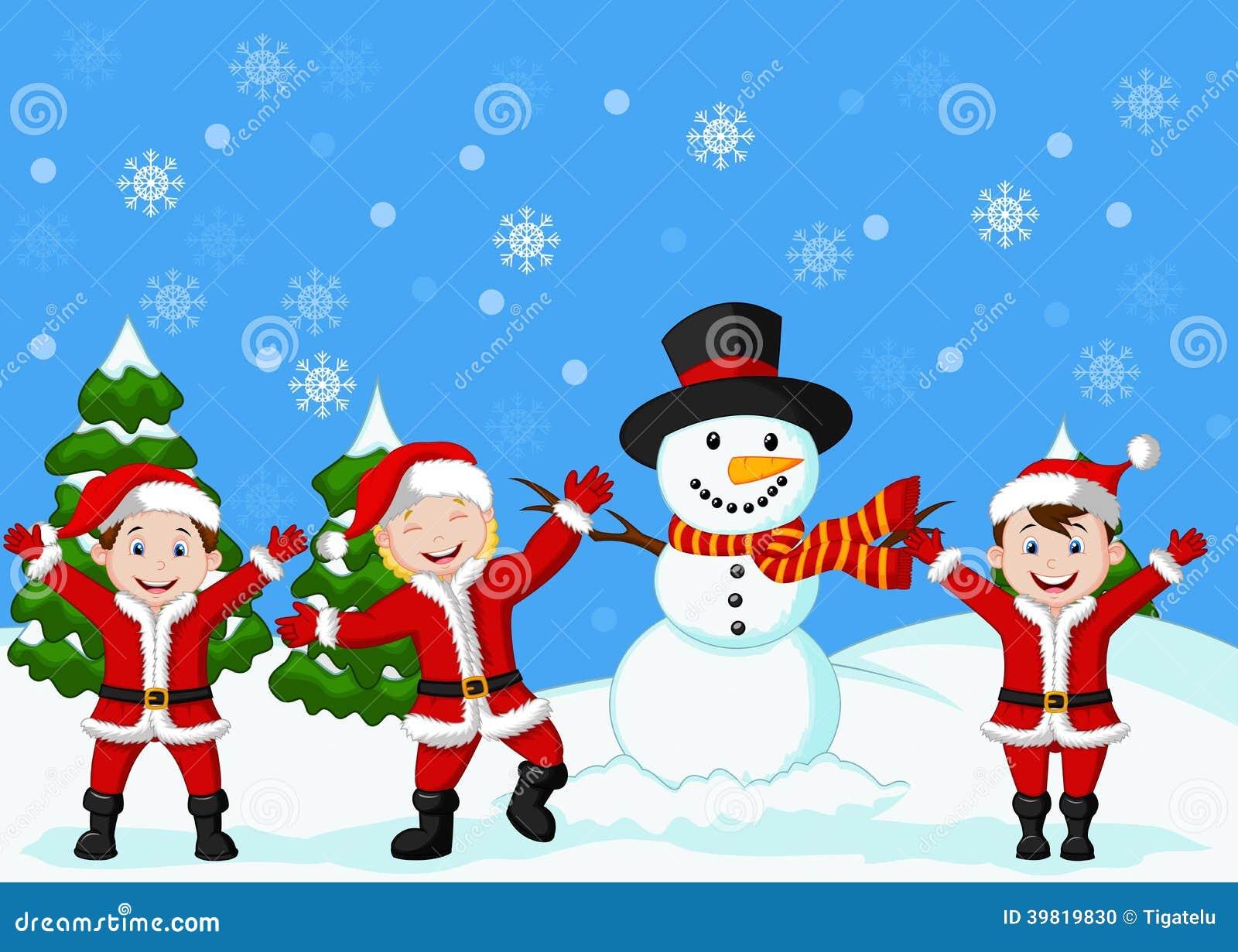 Happy children cartoon in santa costume stock vector