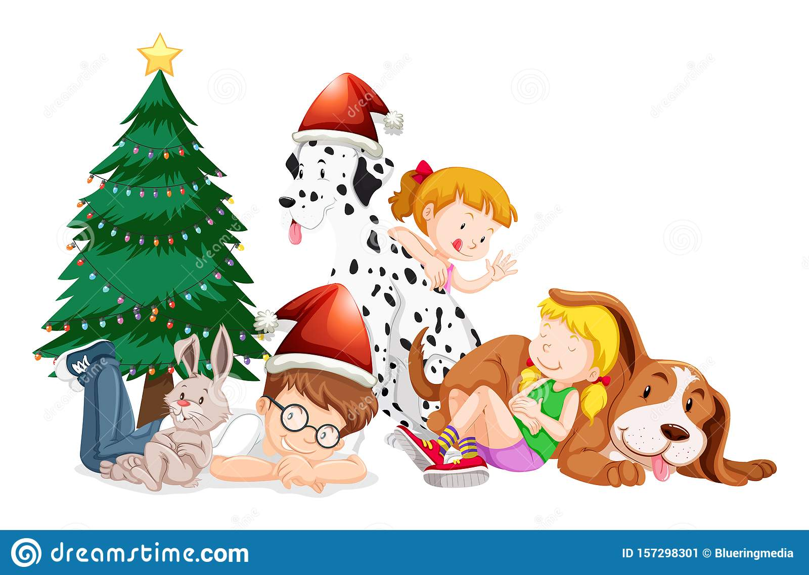 Happy Children And Christmas Tree On White Background Stock Vector Illustration Of Young Tree 157298301