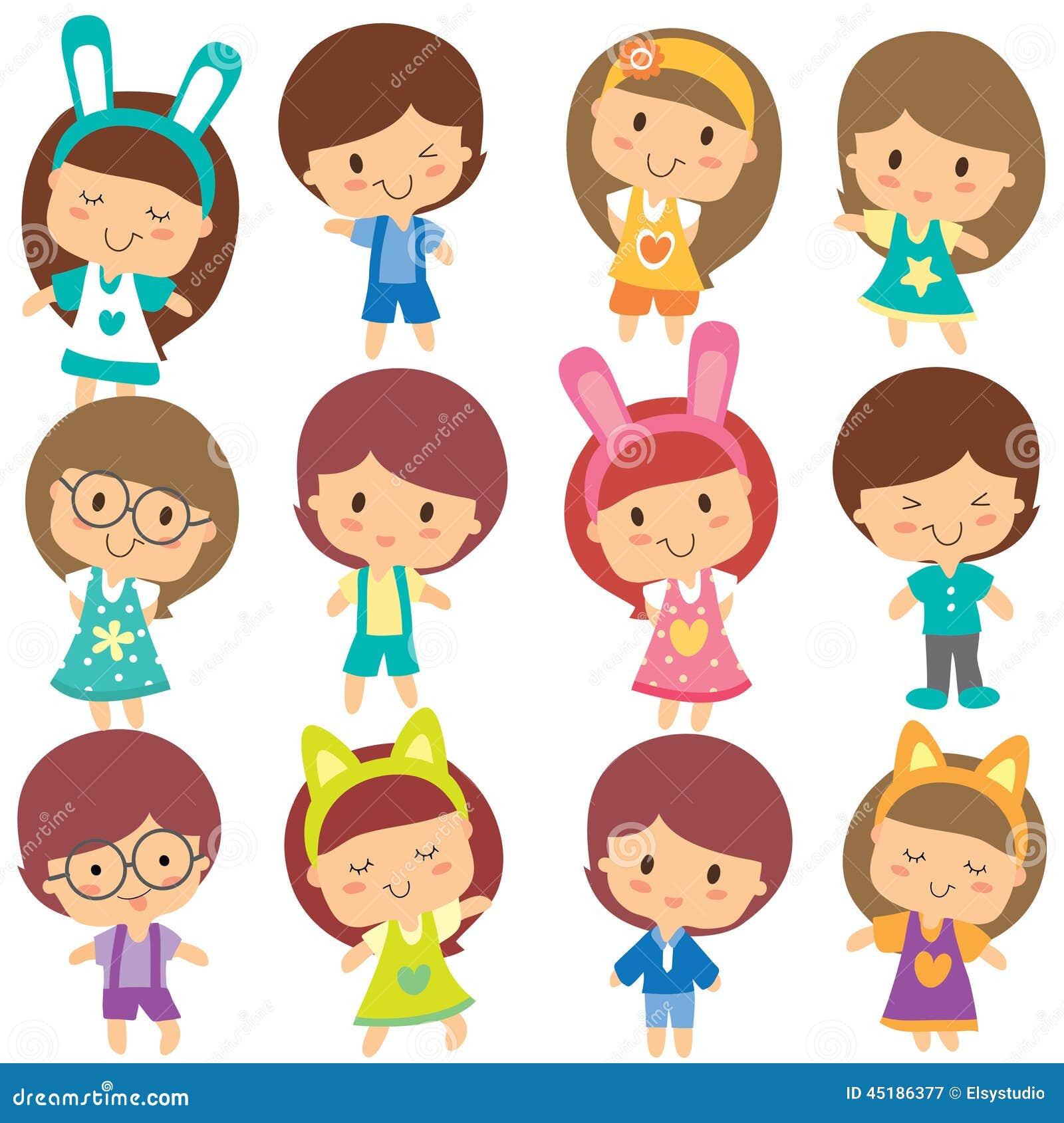 Happy Children Clip Art Set Stock Vector Image 45186377