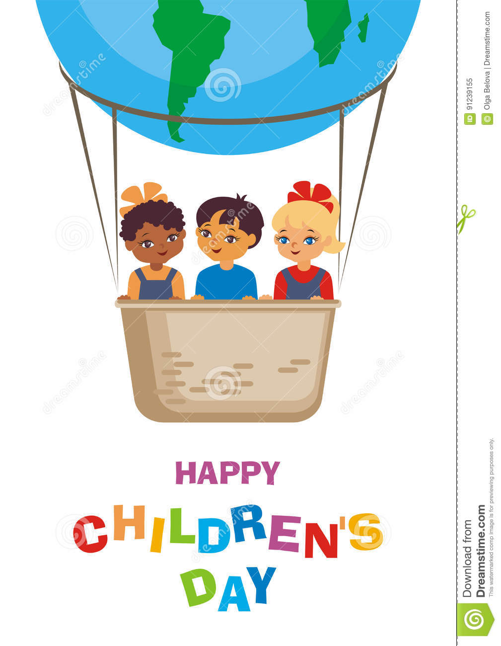 Happy Children Day Card Stock Vector Illustration Of Balloon 91239155