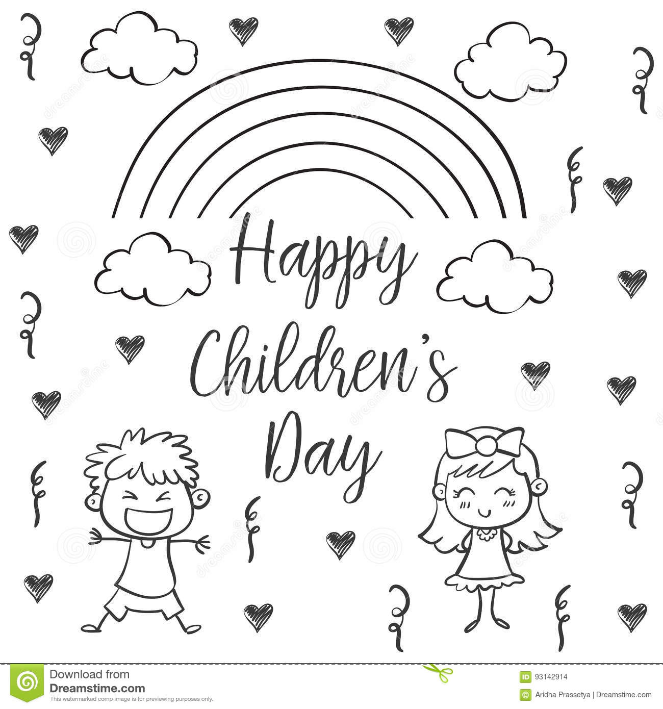 Happy Children Day Hand Draw Collection Stock Vector Illustration