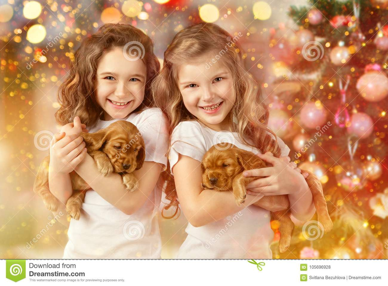Happy children and dogs beside Christmas tree. New year 2018. Holiday concept, Christmas, New year background.