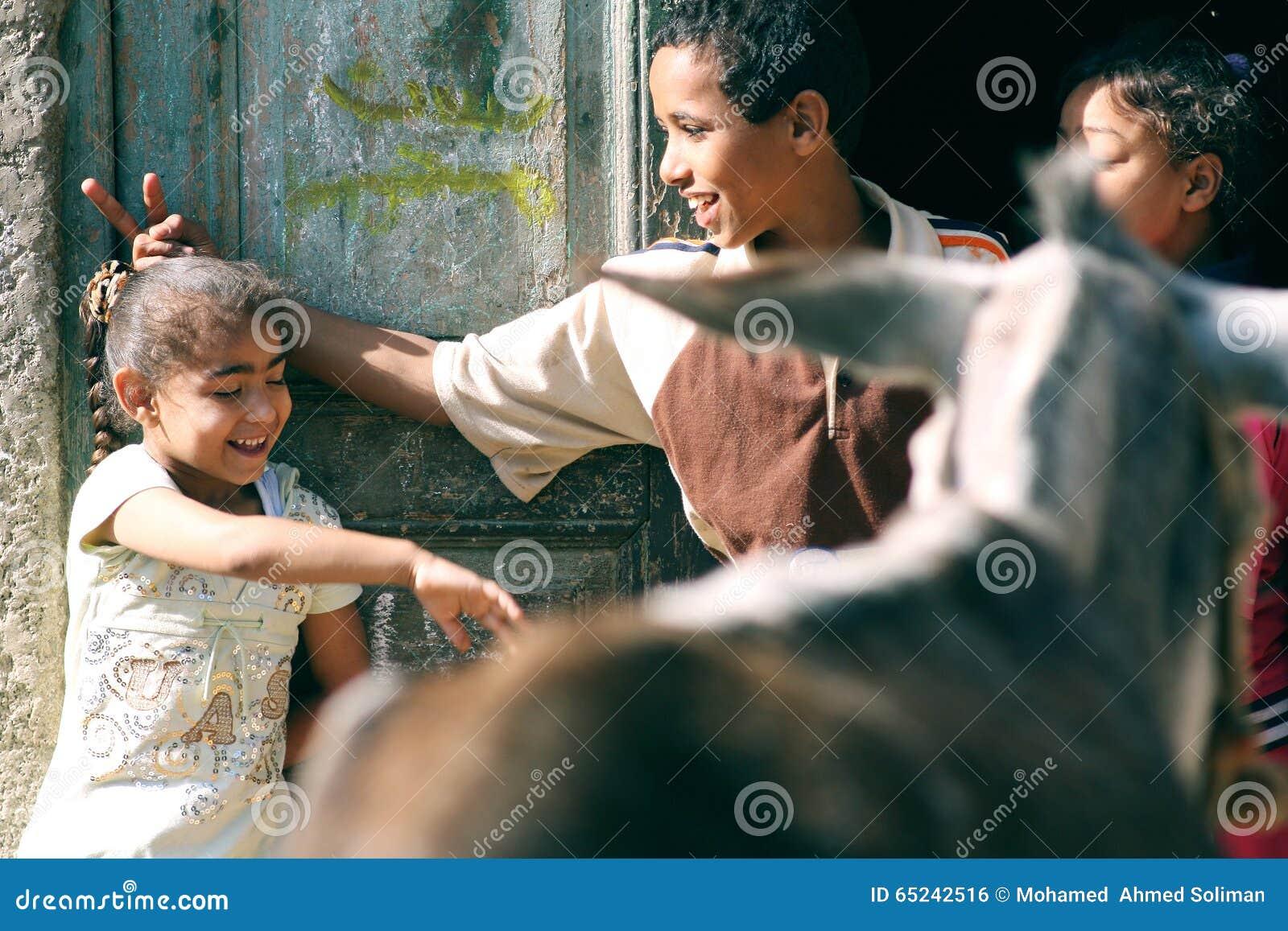 Happy poor children in egypt