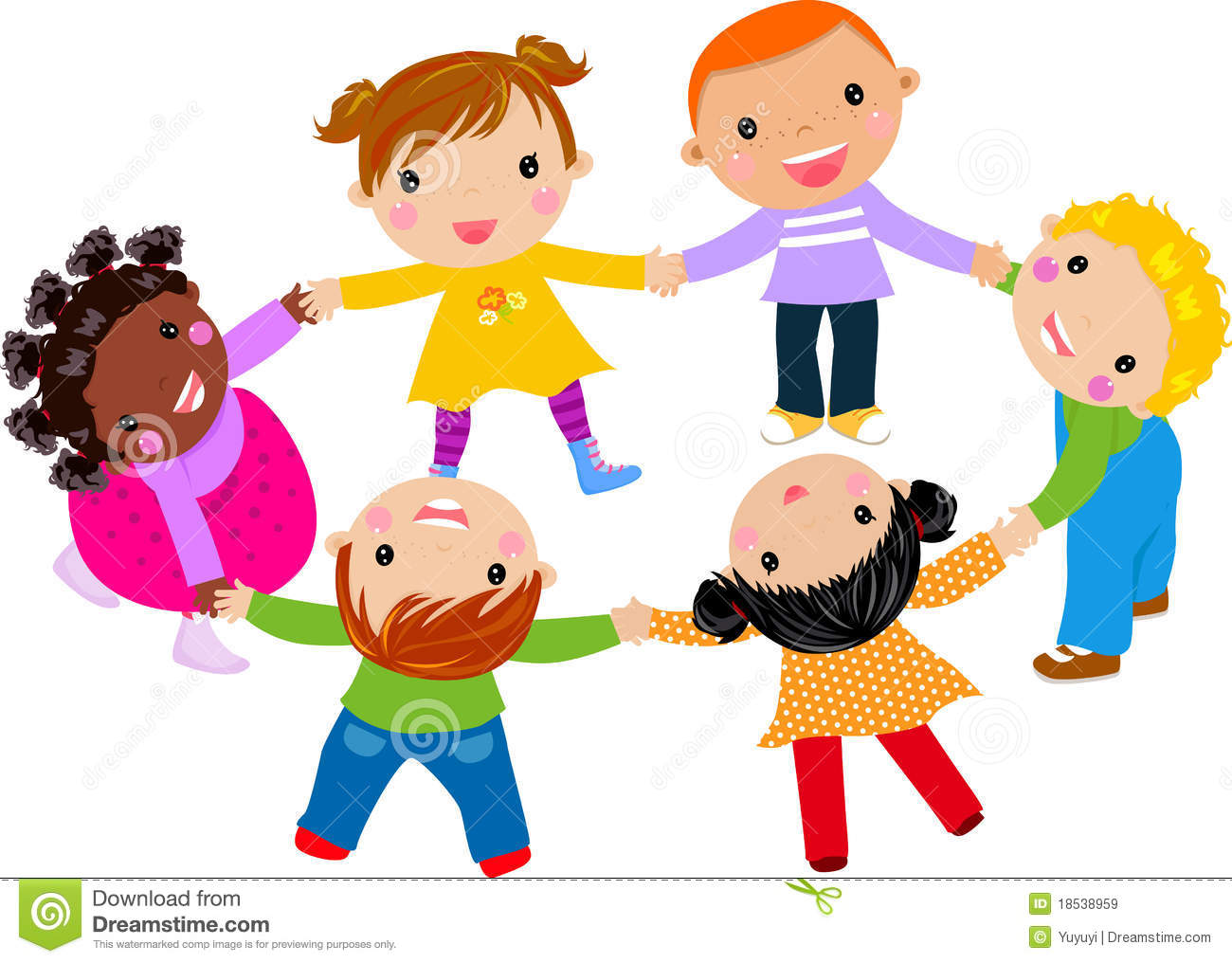 Happy Children Hand In Hand Around Royalty Free Stock Images - Image ...