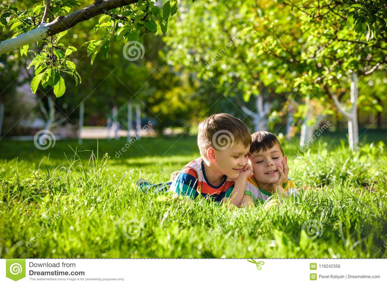 Happy children having fun outdoors. Kids playing in summer park. Little boy and his brother laying on green fresh grass holiday ca