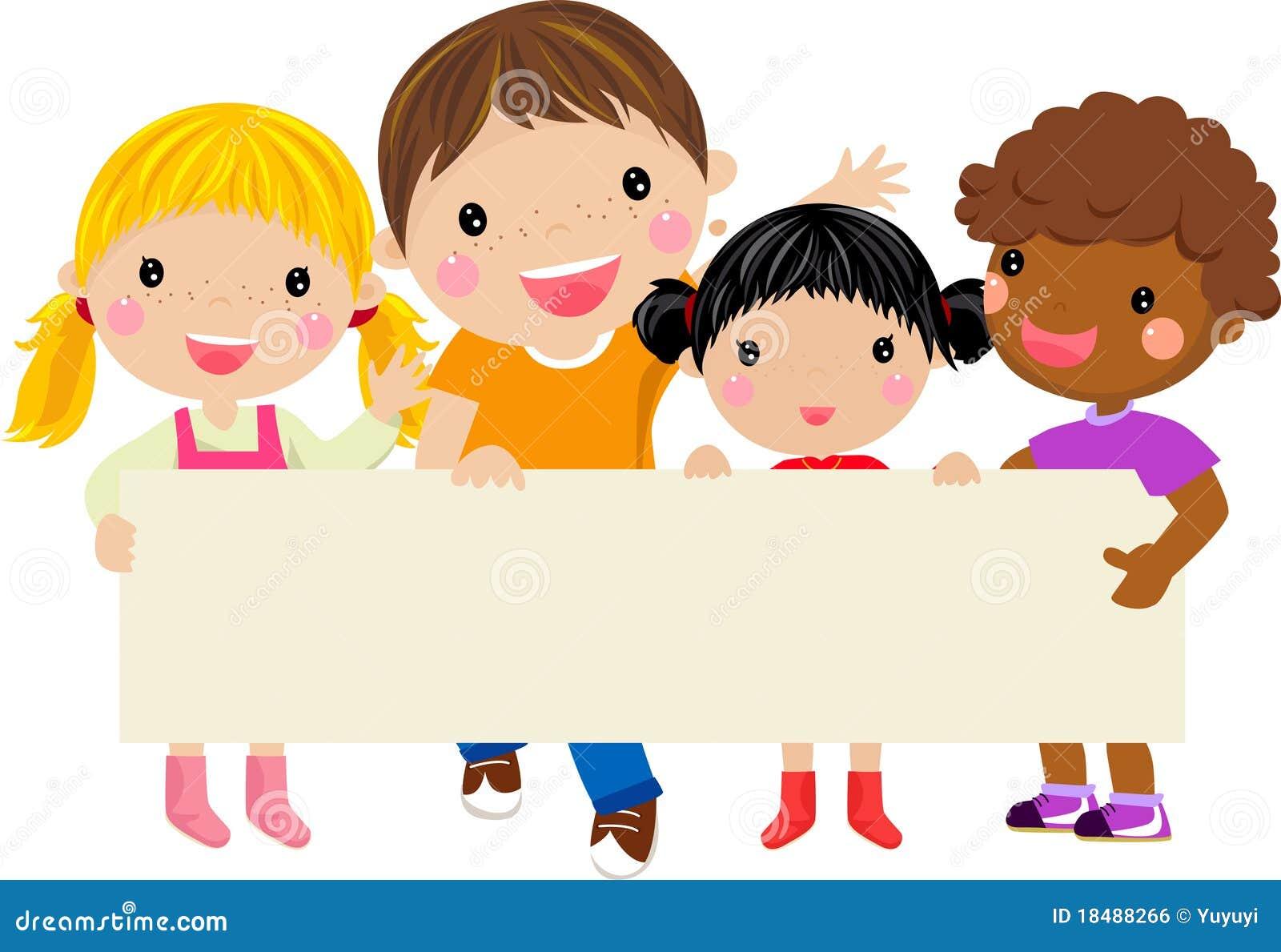 Happy Children Holding A Banner Stock Vector