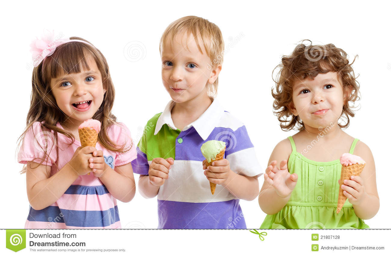 Happy Children With Ice Cream In Studio Isolated Royalty