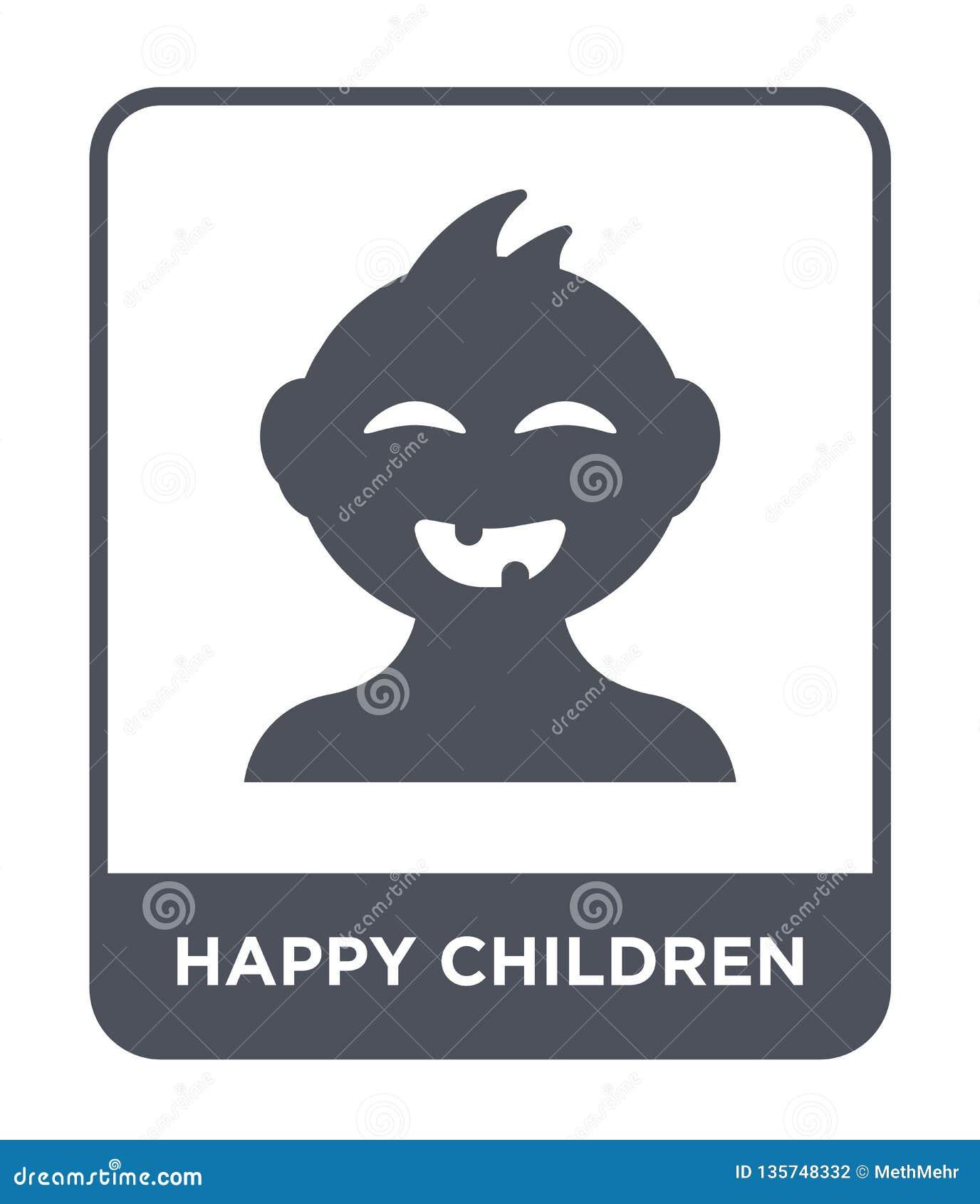 happy children icon in trendy design style. happy children icon isolated on white background. happy children vector icon simple