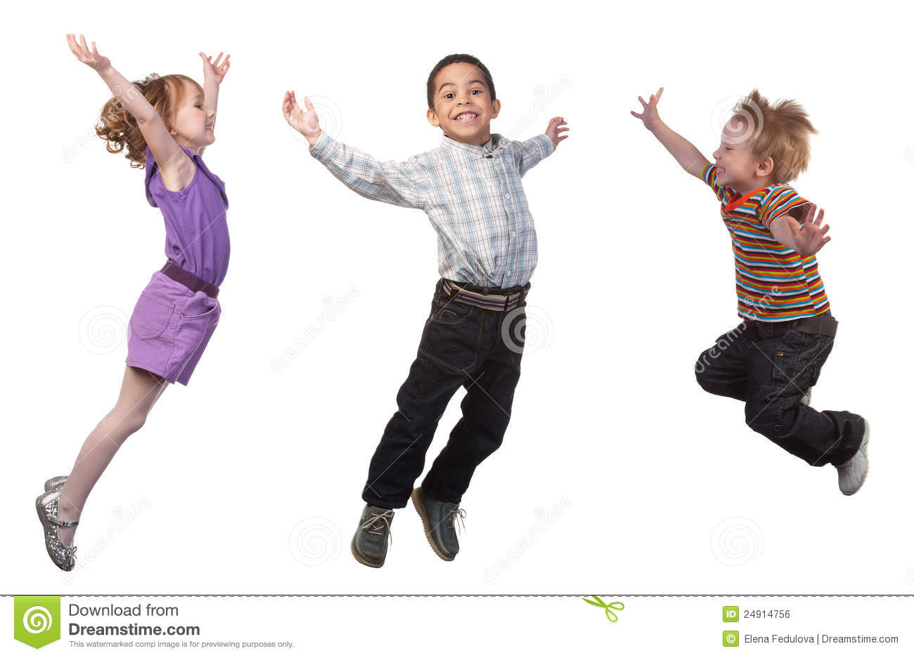 Happy Children Jumping Royalty Free Stock Image - Image: 24914756